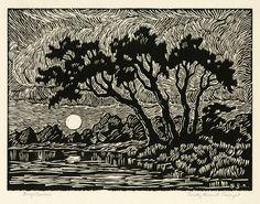 Birger Sandzén: Smoky River at Twilight, linocut Linocut Prints, Art Prints, Block Prints, Wood Engraving, Art And Illustration, Woodblock Print, Printmaking, Scratchboard, Art Drawings
