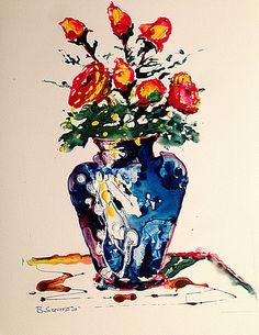 """Vases of flowers spring roses red blue """"Vaso con rose"""" di SumanDimension su Etsy"""