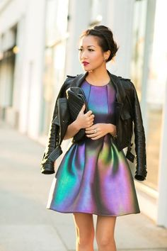 Oil slick dress with Leather