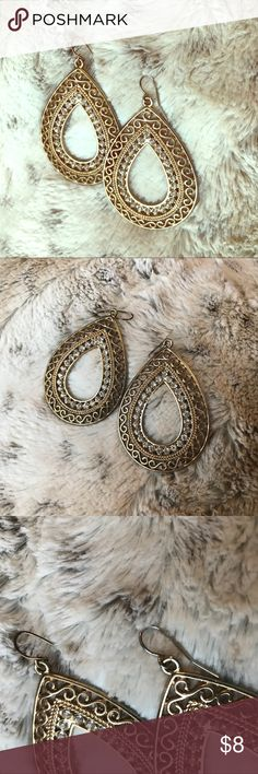"""Gold & Rhinestone Paved Tear Drop Dangle Earrings ◽️Good condition  ◽️A little wear on the posts but not much and definitely not noticeable when wearing them ◽️A favorite of mine that I got compliments on every time I wore them - sadly my ears will no longer tolerate earrings 😩 ◽️Fully sanitized in salon grade barbicide  💰Reasonable offers encouraged  🛍Bundle discounts - the bigger the bundle the more you save! 📦24 hour shipping 🚭Smoke free home ⚠️I do not answer """"lowest?"""" -please make…"""