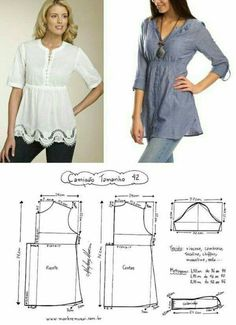 Amazing Sewing Patterns Clone Your Clothes Ideas. Enchanting Sewing Patterns Clone Your Clothes Ideas. Dress Sewing Patterns, Blouse Patterns, Sewing Patterns Free, Clothing Patterns, Blouse Designs, Make Your Own Clothes, Diy Clothes, Sewing Blouses, Fashion Sewing