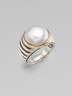 Shop for Sterling Silver, Yellow Gold & Pearl Ring by John Hardy at ShopStyle. Pearl Ring Design, Gold Pearl Ring, Pearl Jewelry, Sterling Silver Jewelry, Gold Jewelry, Pearl Rings, Mens Gold Rings, Rings For Men, Silver Rings