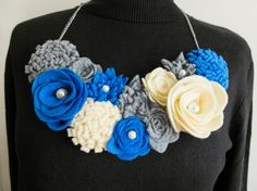 Felted necklace/bib necklace/felted collar/flower by Jousilook Felt Necklace, Crochet Necklace, Handmade Necklaces, Handmade Gifts, Jewelry Making Supplies, Art Projects, Etsy Seller, Business Products, Etsy Shop