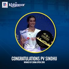 Kohinoor congratulates @PVSindhu.OGQ for winning her first super series title at #ChinaOpen. She is surely a very significant part of #KohinoorWomenAchievers!