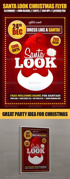 Buy Santa Look Christmas Party Flyer by dodimir on GraphicRiver. Santa Look Christmas Party Flyer is ideal template for upcoming holiday events! Make Santa style party or modify fly. Christmas Flyer Template, Snowflake Template, Menu Design, Flyer Design, Christmas 24, Party Flyer, Print Templates, Holidays And Events, Cool Gifts