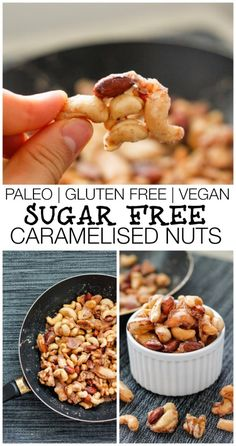 Sugar Free Caramelised Nuts- Made using a Paleo friendly sweetener, these are completely sugar free, paleo, gluten free AND vegan- and no oven required!