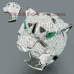 18K Emerald & White Black Diamond Cougar Ring 6.04ct