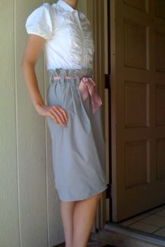 My First Clothing Revamp - The Upside Down Paperbag Skirt