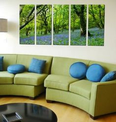 Amazon.com: Framed Huge Canvas Print 5 Panel Forest Leaves Painting Art on Giclee Canvas Print: Home & Kitchen