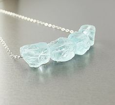 Raw stone necklace blue quartz necklace sterling by NatureLook
