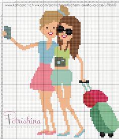 selfie - amiche in vacanza - valigia - valige - schema punto croce