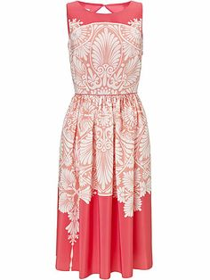 monsoon 50s style red dress with art deco pattern summer dress - best wedding guest dresses - what to wear to a wedding - cosmopolitan.co.uk...