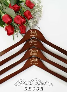 Engraved Mahogany Bridal Party Hangers by Black Label Decor https://www.etsy.com/listing/226262904/