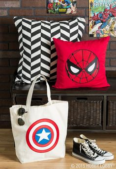 Marvel fans, show off your love for your favorite superheroes with simple DIYs! We ironed on patches to make this Captain America bag and Spider-Man pillow. Comic Themed Room, Man Pillow, Patch Shop, Hobby Lobby, Man Room, Superhero Party, Diy Pillows, Room Themes, Craft Stores