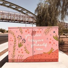 You can forgive yourself now - pink mural utility box painting outdoor illustration #mural