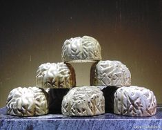 This is a rustic brain shaped cement paperweight. Who doesn't want a freshly unearthed brain on their desk? I have rubbed it with a dark wax to give it a more earthy look. There are 6 pictured. Cement, Concrete, Brain Shape, Dark Wax, Paper Weights, Earthy, I Shop, Rustic, Handmade