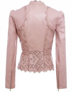 Back View~ The Libre jacket from contemporary British designer Alice by Temperley. Featuring intricate laser cut leather trim in a floral pattern around the neckline, stitched shoulder panels and pleated hemline, very high quality finishings. Pink Leather, Leather And Lace, Custom Leather, Look Rose, Leather Fashion, Fashion Dresses, Cute Outfits, My Style, Womens Fashion