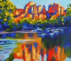 A painting of beautiful Red Rock Crossing, Sedona by Antonia Dewey. Oil on panel, unframed, 29,5 x 25 cm ( 11.6 in x 9.8 in ) - Available Sedona Red Rock, Landscapes, Paintings, Oil, Drawings, Beautiful, Paisajes, Scenery, Paint