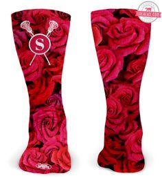 We love these Rose Pattern Monogram Lacrosse Socks!