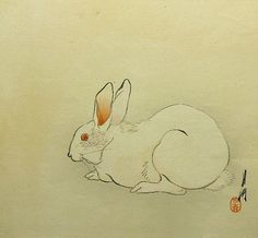 Rabbit by Ogata Gekko Bunny Book, Bunny Art, Art Occidental, Japanese Prints, Japanese Waves, Zen Painting, Rabbit Run, Year Of The Rabbit, Rabbit Tattoos