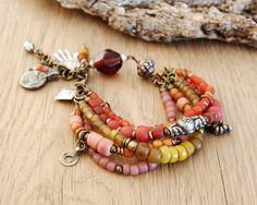 Hamsa bohemian bracelet - boho jewelry - ethnic bracelet - hand of fatima jewelry - orange pink yellow
