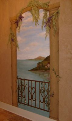 Mediterranean View w/columns and arch mural idea   By Designstudiomurals.com © Leah Pruitt