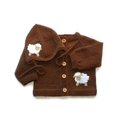 Brown baby set with white sheep Knit merino set hat and by Tuttolv, $59.00