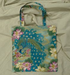 Peacocks, Handmade Cotton Tote/ 20% off Super Sale! from now until 4/12.