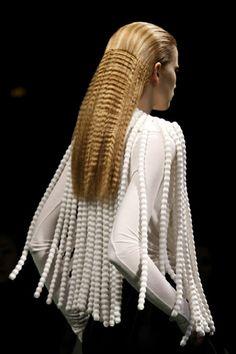 Givenchy / crimp hair / crimped / long hair/avant garde hair