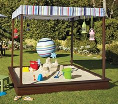 I'm diggin' this covered sandbox from Pottery Barn Kids (and I know my son would love it too), but I really dig the smaller (urban sized) version that Erin and her husband made. #DIY