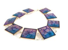 purrple blue metal shiny silver plated bracelet  by oBocreations, $19.00