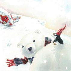 France Brassard  art plane snow polar bear