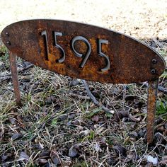 CUSTOM House Numbers Oval Rusted Steel & by ModaIndustria on Etsy, $149.00