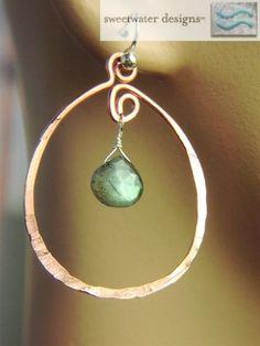 Copper oval hoops Labradorite Sterling Silver hook earrings from Gembliss