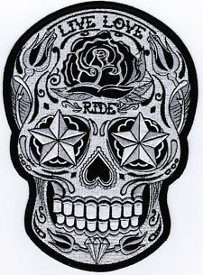 Motorcycle Vest Back Patches | ... Live Love Ride AWESOME MC Embroidered Biker BACK Vest Patch LRG-0018