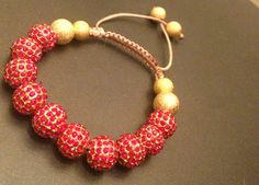 Red and Gold Shamballa Bracelet