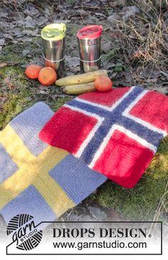 DROPS Extra - Strikket og tovet sitteunderlag med dominoruter i DROPS Eskimo Knitting Patterns Free, Free Knitting, Free Pattern, Crochet Patterns, Drops Design, Knitted Afghans, Knit Dishcloth, Picnic Blanket, Outdoor Blanket