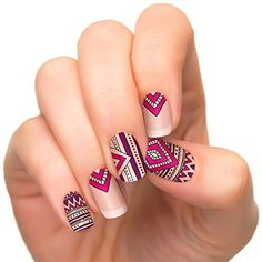 Incoco Nail Polish Strips, Nail Art, Lovestruck * Click image for more details. Cute Nails, Pretty Nails, Mandala Nails, Tribal Nails, Aztec Nail Art, Uñas Fashion, Nail Polish Strips, Nail Decorations, Nail Art Designs