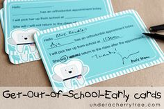 Print-and-Cut notecards with the Silhouette Cameo;  Jin's Get-Out-of-School-Early cards | Under A Cherry Tree