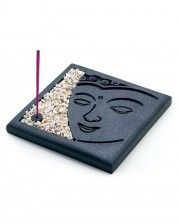 The face of the meditating Buddha- commonly believed to bring peace and serenity- appears on the platform of this personal incense holder. Comes complete with small stones for laying a bed around the burning incense sticks included). Polymer Clay Crafts, Diy Clay, White Decorative Stones, Diy Incense Holder, Buddha Decor, Buddha Face, Incense Burner, Burning Incense, Buddha Meditation