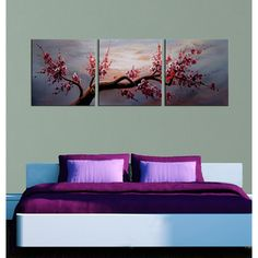 Shop for 'Plum Blossom Gallery-wrapped Hand Painted Canvas Art Set. Get free delivery On EVERYTHING* Overstock - Your Online Art Gallery Store! Multi Canvas Painting, 3 Piece Canvas Art, 3 Piece Wall Art, Hand Painted Canvas, Canvas Wall Art, Canvas Prints, Spa Art, Oversized Wall Art, Flower Canvas