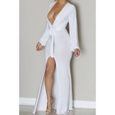 Sexy Plunging Neck Long Sleeve Asymmetrical Solid Color Women's Dress