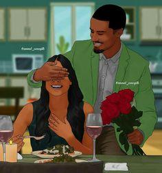 Sexy Black Art, Black Love Art, Black Girl Art, Art Girl, Black Couple Art, Black Love Couples, Cute Couples, Beautiful Love Images, Black Girl Cartoon