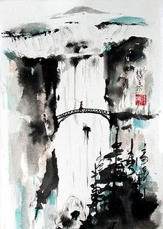 """""""Seeking the Valley"""" Spontaneous (xie yi) style chinese brush painting by bgsearle."""