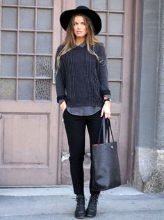 All black errything black boots hat jeans leather bag fashion women womenswear style streetstyle fashion tumblr