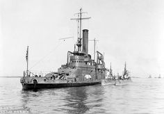 """USS was a Arkansas Class Monitor – Commissioned: 18 June 1903 – Crew: 13 Officers 209 Men – Armament: 2 x 12 Inch Breech Loading Rifles Dual Turret) 4 x 4 Inch Guns Single Mounts) 3 x Guns – Decommissioned: 24 March 1922 and Sold for Scrap: 25 July 1922 Naval History, Military History, Us Navy Ships, Big Guns, United States Navy, American War, Sea And Ocean, Power Boats, Model Ships"