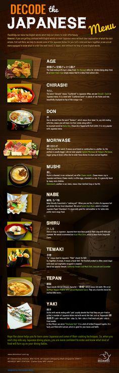 Decode the Japanese Menu! | via Shin Minori Japanese Restaurant | http://shinminori.com.sg/Blog/