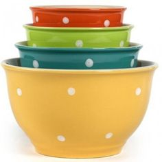 Set Of 4 Flair Multi Colored Mixing Bowls - I have a bowl problem - I am addicted to them