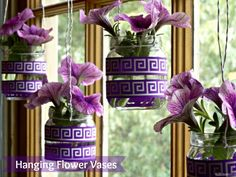 Bring Spring indoors with this simple DIY craft for Hanging Flower Vases using baby food jars and ribbon. Inspired by the new Suavitel® Fragrance Pearls™.