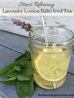 This refreshing Stress Relieving Lavender Lemon Balm Iced Tea is a lovely way to end a hot summer day. Gently sweetened with honey. --- The Nourishing Gourmet Smoothie Drinks, Detox Drinks, Healthy Drinks, Smoothies, Juice Drinks, Herb Recipes, Real Food Recipes, Lemon Balm Recipes, Detox Recipes